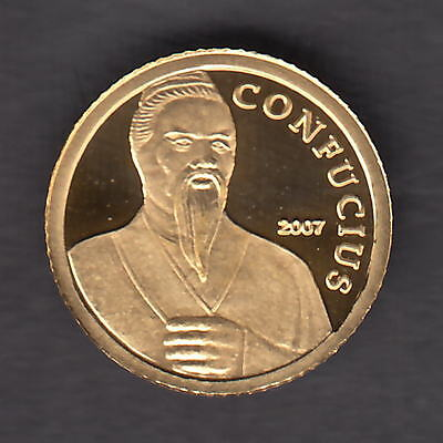 Cambodia. 2007 Gold 5000 Riels..  Confucius..  0.5grams  .999 gold.. Proof