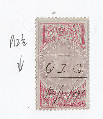 NEW SOUTH WALES 15/-  Queen Victoria *REVENUE* Stamp Duty PEN CANCEL As Per Scan