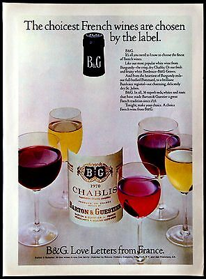 1974 B&G Barton & Guestier Chablis French Wine Magazine Print Ad Tear Out