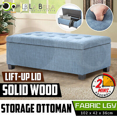 Storage Ottoman Blanket Box Linen Fabric Foot Stool Couch Bed Large LIGHT GREY