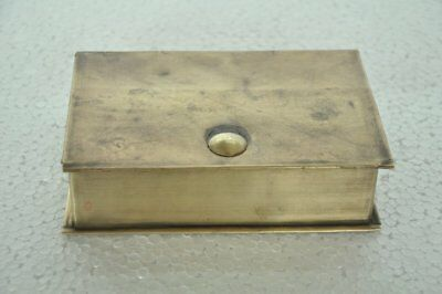 Old Brass 4 Compartment Book Shape Handcrafted Betel Nut Box , Rich Patina