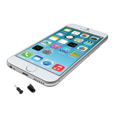 kwmobile DUST PROTECTION SET FOR APPLE IPHONE 6 6 PLUS BLACK PLUG PIN PEG PORT