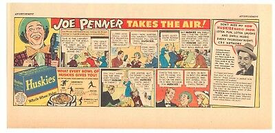 1938 - JOE PENNER - Huskies Cereal Newspaper comic ad - Takes The Air!