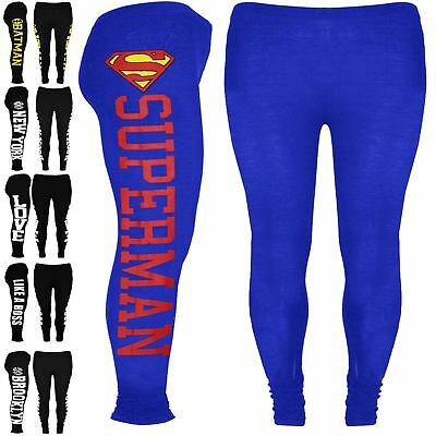 Girls Kids Batman Full Length Leggings Superman New York Like a Boss Jegging