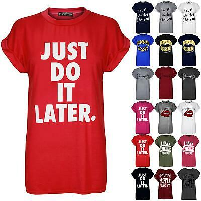 04a106f407c4c Womens Just Do It Later T Shirt Ladies Plus Size Baggy Top USA Varsity  Oversized