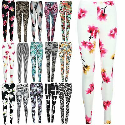 Womens Skinny Floral All Over Printed Ladies Ankle Full Length Stretchy Leggings