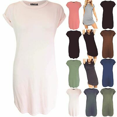 ASBAHFASHION Women's Curved Hem Turn up Sleeve Plain Side Cut Oversized T-shirt