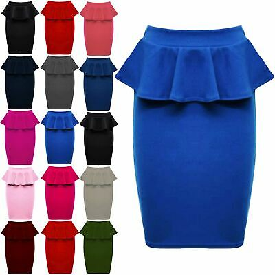 Womens Ladies Ponte Stretch Soft Pencil Peplum Frill Wiggle Midi Bodycon Skirt
