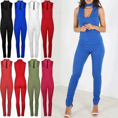 Womens Ladies Choker Neck Front Keyhole Sleeveless Back Zip All In One Jumpsuit
