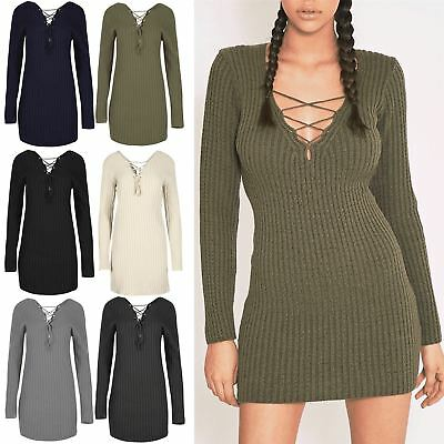 Womens Ladies Ribbed Knit Front Back Eyelet Lace Up V Neck Mini Jumper Dress  Top dbeed90bd
