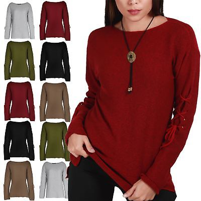 Ladies Womens Chunky Knitted Long Sleeve Boat Neck Long Sleeve Eyelet Jumper Top