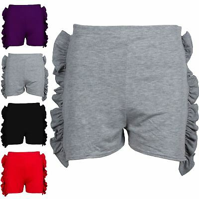 Kids Girls Casual Ruffle Peplum Frill Side High Waisted Hot Pants Mini Shorts