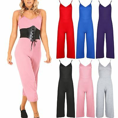 Womens Ladies Culotte Palazzo Wide Leg Pants Cami Thin Strappy Playsuit Jumpsuit