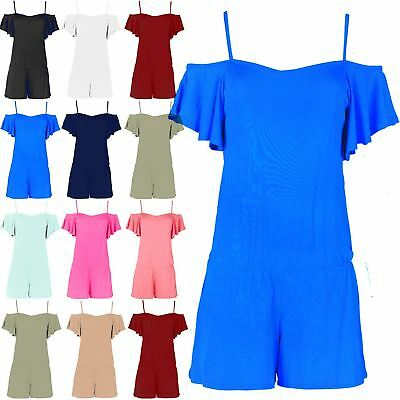 Womens Jersey Open Off Shoulder Cami Frill Bardot All In One Jumpsuit Playsuit