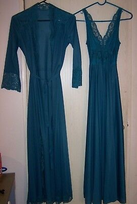 Vintage Olga Body Silk Teal Full Sweep Nightgown & Robe Size P Style 9687, 9702