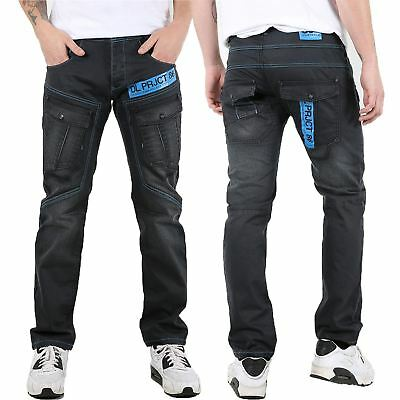 Mens DL Project 86 Button Pockets Straight Fit Stitch Lines Pant Trouser Jeans