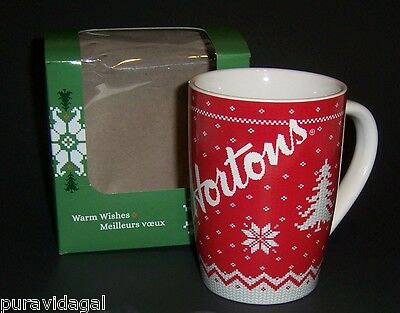 TIM HORTONS Coffee Mug ~ CHRISTMAS 2015 ~ Limited Edition # 015 ~ RED ~ Sweater