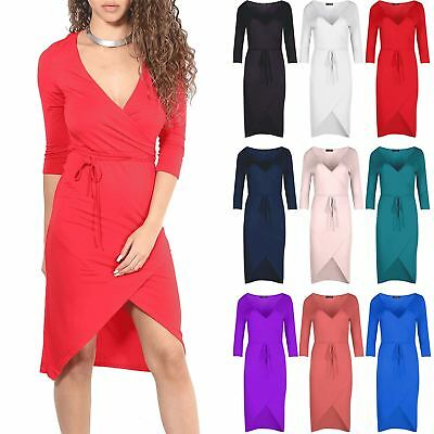 Womens V Neck Plunge Wrap Over Dress Ladies 3/4 Sleeve Fishtail Belt Midi Dress