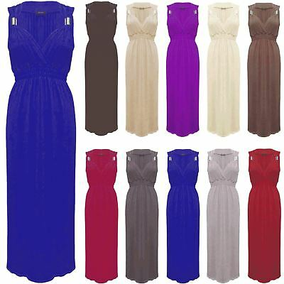 L140 New Women/'s Summer Stretch Spring Coil Long Jersey Maxi Dress Size 8-14