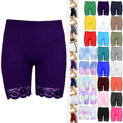Womens Cycling Shorts Ladies Hot Pants Scallop Lace Trim Jersey Gym Bike Tights