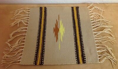 Woven Rug Placemat, Mexican, Southwest Design, Fringe, Stripes, Arrows, Brown
