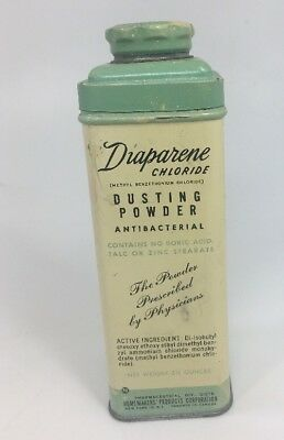 Vintage Diaparene Chloride Antibacterial Dusting Baby Powder 3.5 Oz Tin Adults