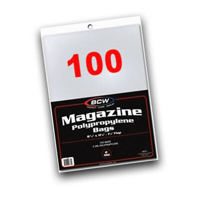 100 BCW Non-Resealable Magazine Poly Bags 8.875 x 11.125 plus flap ACID FREE