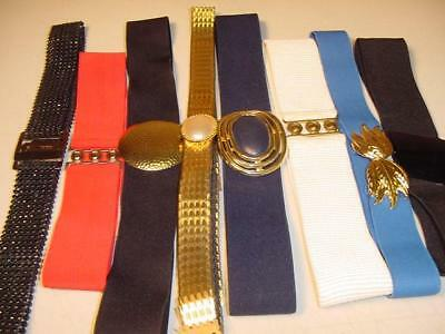AMAZING LOT OF 8 Original vtg 80s ELASTIC stretch CINCH BELTS see all photos
