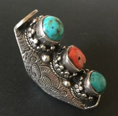 Antique Chinese Tibetan Turquoise Red Coral Silver Large Ring Size 7 1/4