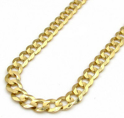 "18-24"" 3.5mm 14k Yellow Solid Real Gold Cuban Curb Chain Necklace Mens Ladies"