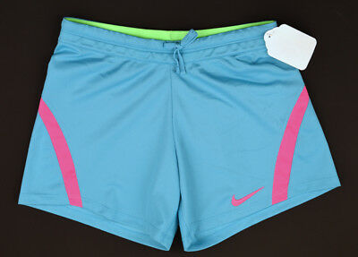 NWT NIKE Girls Blue & Pink Dri-Fit Drawstring Athletic Running Shorts ~ M