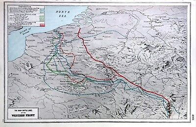 Vintage Antique Original 1920 Map Print Of The Main Battle Lines Of The Western