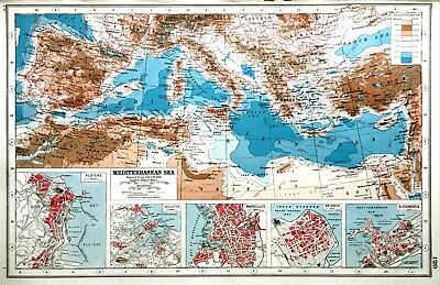 Vintage Antique Original 1920 Map Print Of The Mediterranean Sea Heights & Depth