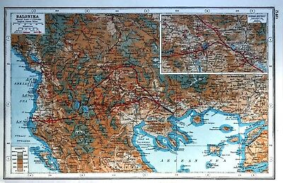Vintage Antique Original 1920 Map Print Of Salonika & Doiran District