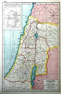 Vintage Antique Original 1920 Map Print Of Ancient Palestine & Jerusalem Plan