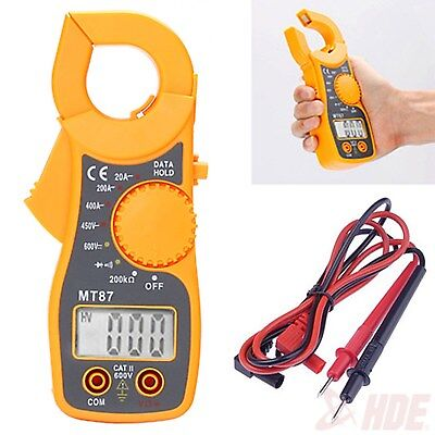 Portable Digital Multimeter LCD Clamp AC DC Voltage Current AMP OHM Tester