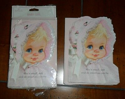 23 Vintage Hallmark Baby Girl Announcement Cards 11 Loose 12 MISP + Envelopes