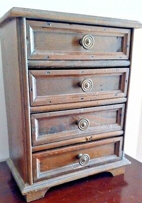 Miniature Vintage Dark Oak 4 Drawer Chest Square Nailed