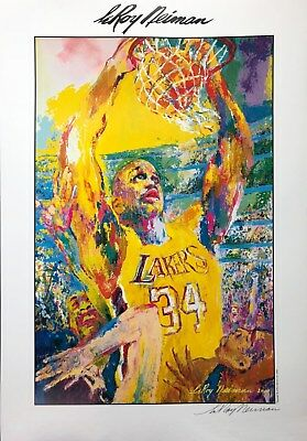 HAND SIGNED LeRoy Neiman Shaquille O'Neal LAKERS Shaq Orlando Magic Los Angeles