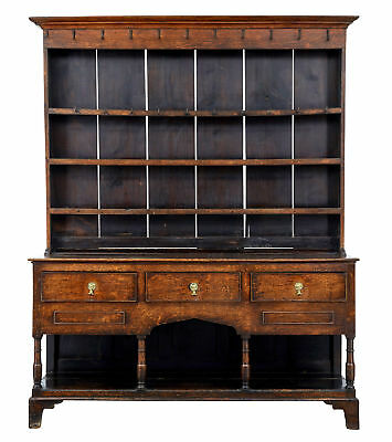 18Th Century Welsh Oak Potboard Dresser And Rack