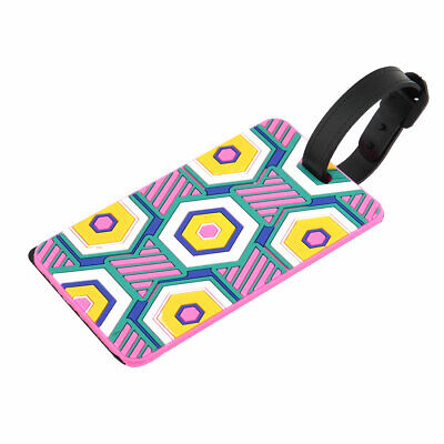 Rectangle Design Suitcase Baggage ID Name Label Luggage Tag Multicolor