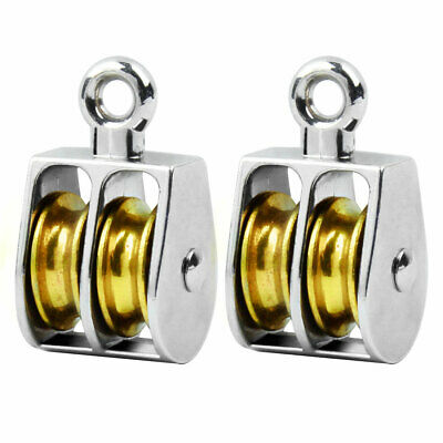 Library Zinc Alloy Hardware Double Rope Pulley Block Silver Tone 20mm Dia 2 Pcs