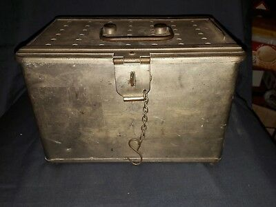 Antique Nickel Plated Brass/Copper Instrument Steralising Box. WD Broad Arrow.