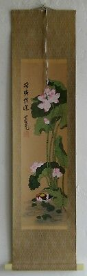 Fine Old Chinese Lotus Flowers & Ducks Hanging Scroll Painting SIGNED
