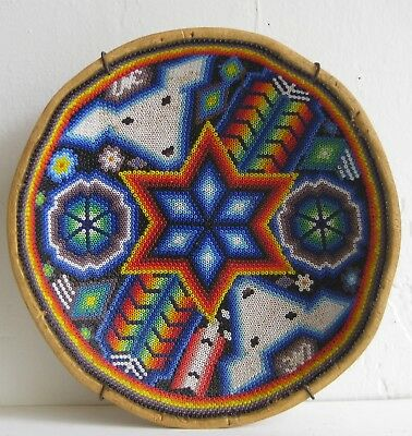 Vtg Mexican Huichol Tribe Carved Gourd & Bead Decorated Peyote Art Bowl