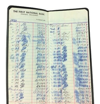 Vintage 1973 Small Town USA Pawnee Oklahoma 1st National Bank Account Book