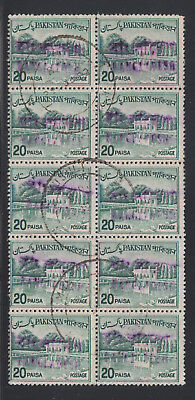 Bangladesh local, Pakistan Sc 135C used. 1970 20p dull green, block of 10, sound