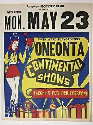 Laughs For Everyone Original 1949 Vintage Carnival Poster Continental Show 22X28