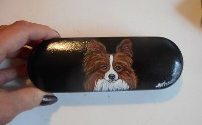 Papillon Dog Hand Painted Eyeglass case faux Leather