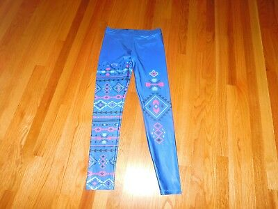 Justice blue and pink  Aztec print  leggings size 20 EUC No signs of wear